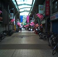 いろは通りは夜になると、両脇に布団がズラリ。放置自転車がメチャクチャ多いのも特徴。