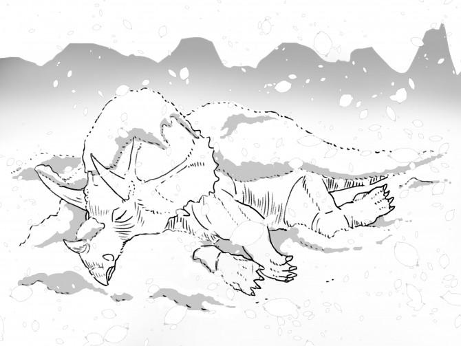 1雪の中で死んでいくトリケラトプス