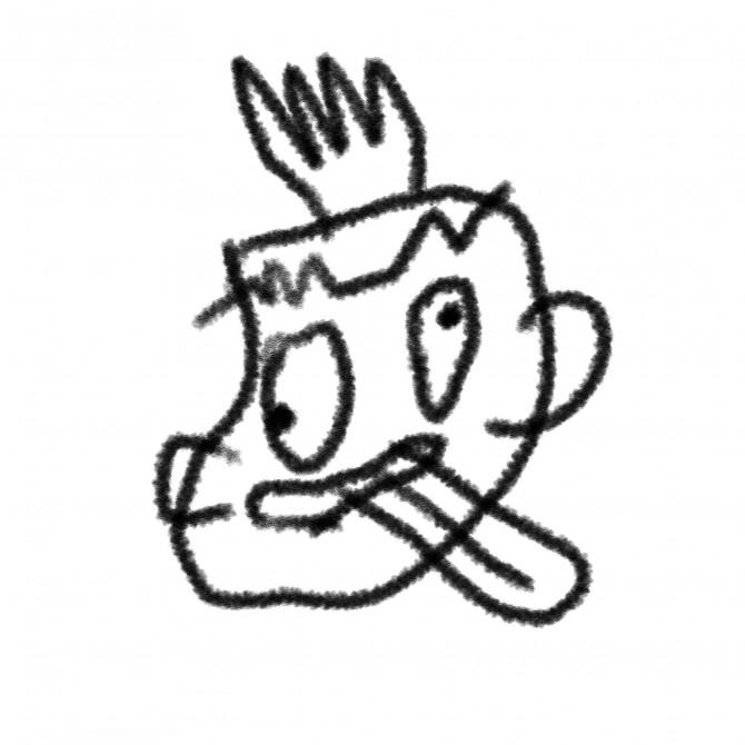 7赤いクレヨンで落書きされた探索者の顔