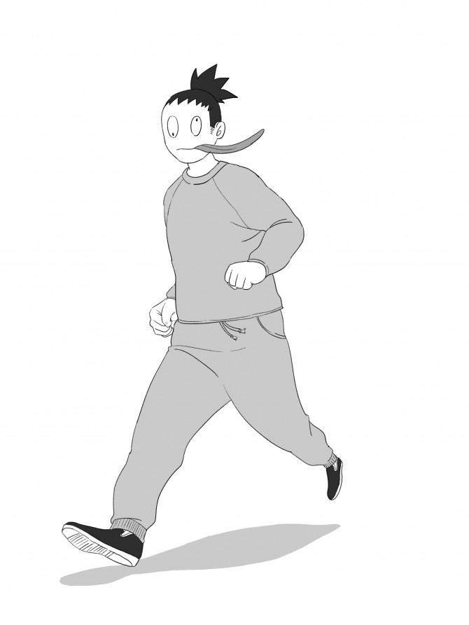 17スウェットを着てジョギングする探索者